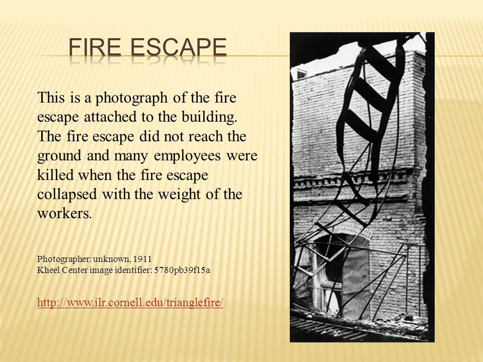 This is a photograph of the fire escape attached to the building.