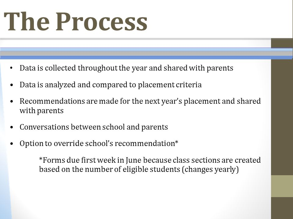 The Process Data is collected throughout the year and shared with parents Data is analyzed and compared to placement criteria Recommendations are made
