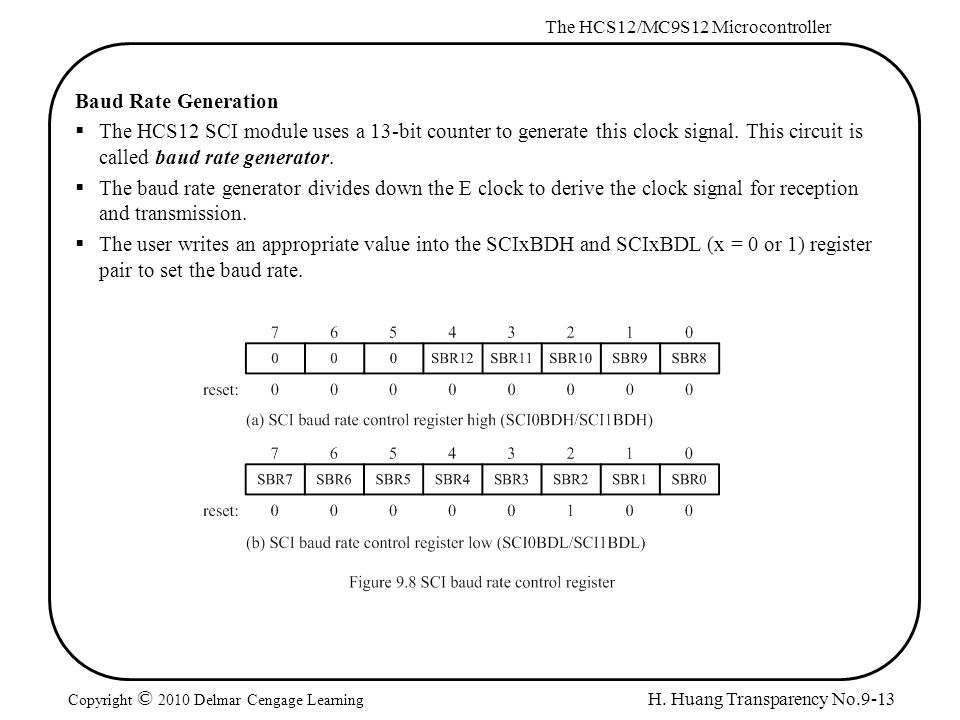 H. Huang Transparency No.9-13 The HCS12/MC9S12 Microcontroller Copyright © 2010 Delmar Cengage Learning Baud Rate Generation  The HCS12 SCI module us