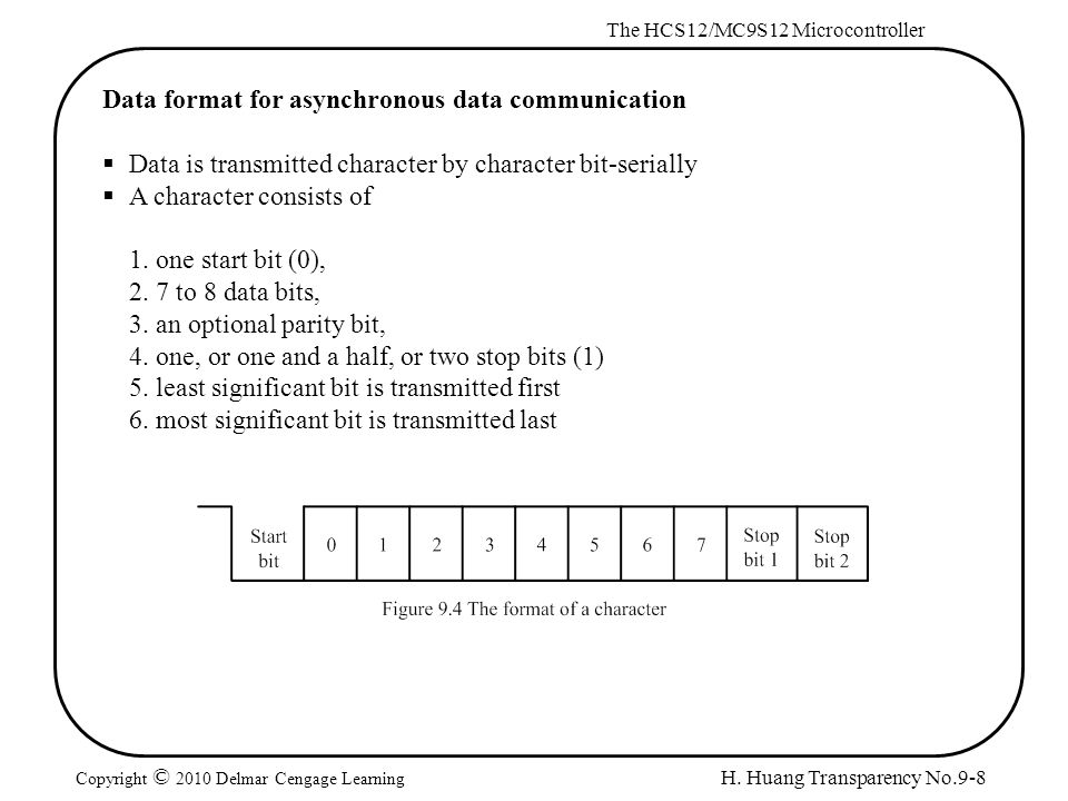 H. Huang Transparency No.9-8 The HCS12/MC9S12 Microcontroller Copyright © 2010 Delmar Cengage Learning Data format for asynchronous data communication