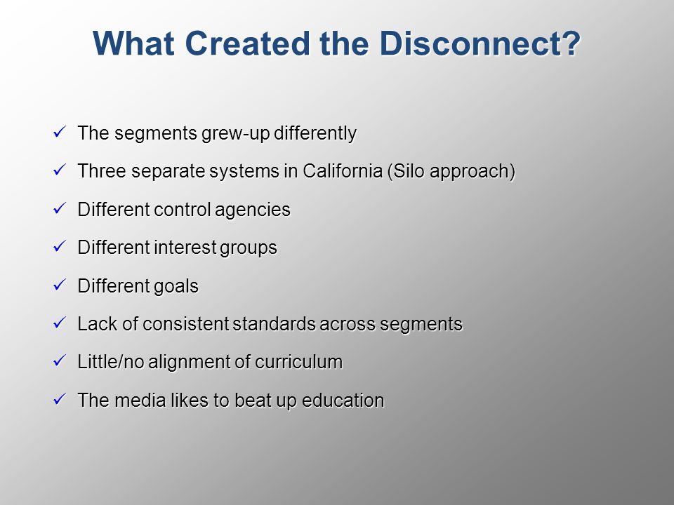 What Created the Disconnect.