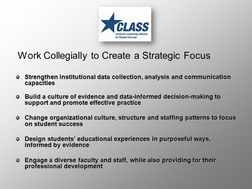 Work Collegially to Create a Strategic Focus Strengthen institutional data collection, analysis and communication capacities Build a culture of evidence and data-informed decision-making to support and promote effective practice Change organizational culture, structure and staffing patterns to focus on student success Design students' educational experiences in purposeful ways, informed by evidence Engage a diverse faculty and staff, while also providing for their professional development