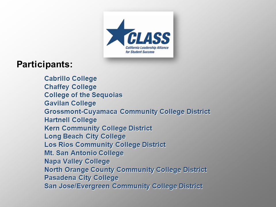 Participants: Cabrillo College Chaffey College College of the Sequoias Gavilan College Grossmont-Cuyamaca Community College District Hartnell College Kern Community College District Long Beach City College Los Rios Community College District Mt.