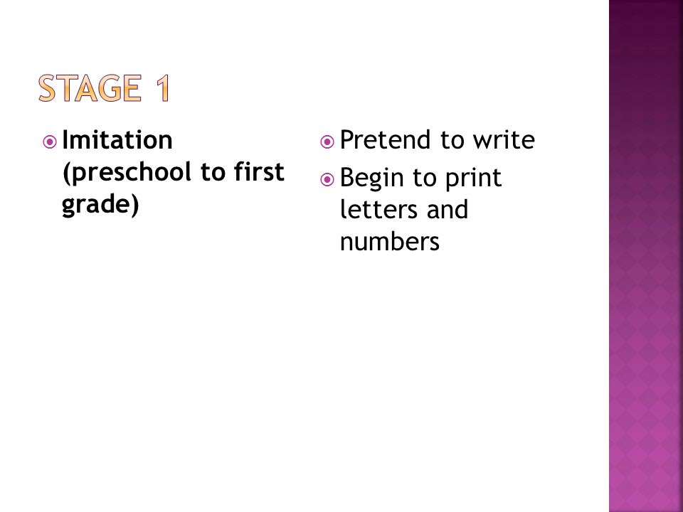  Imitation (preschool to first grade)  Pretend to write  Begin to print letters and numbers