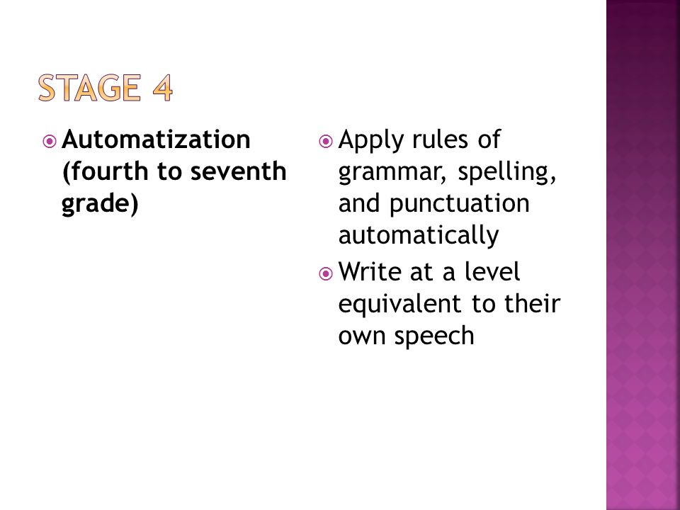  Elaboration (seventh to ninth grade)  Writing to express a viewpoint  Synthesize ideas from a variety of sources
