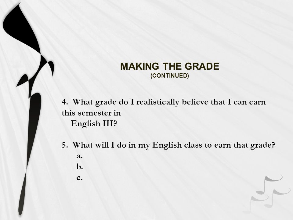 MAKING THE GRADE 1.What work have I done well in my English class.