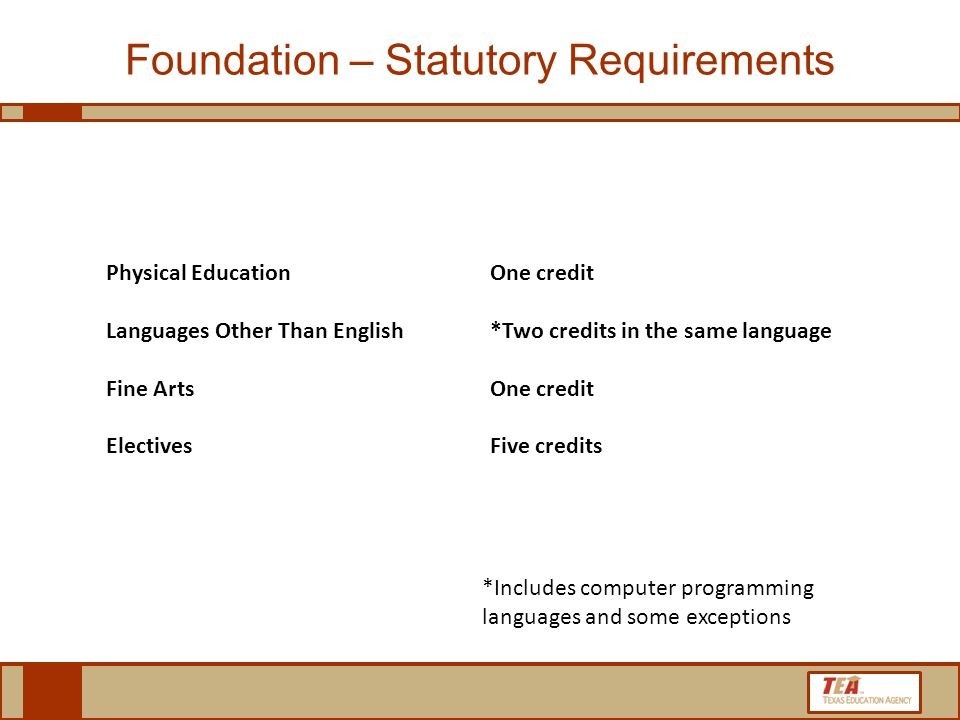 Physical Education One credit Languages Other Than English *Two credits in the same language Fine Arts One credit Electives Five credits Foundation – Statutory Requirements *Includes computer programming languages and some exceptions