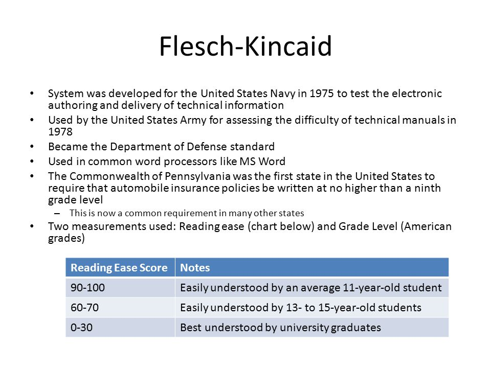 Flesch-Kincaid System was developed for the United States Navy in 1975 to test the electronic authoring and delivery of technical information Used by