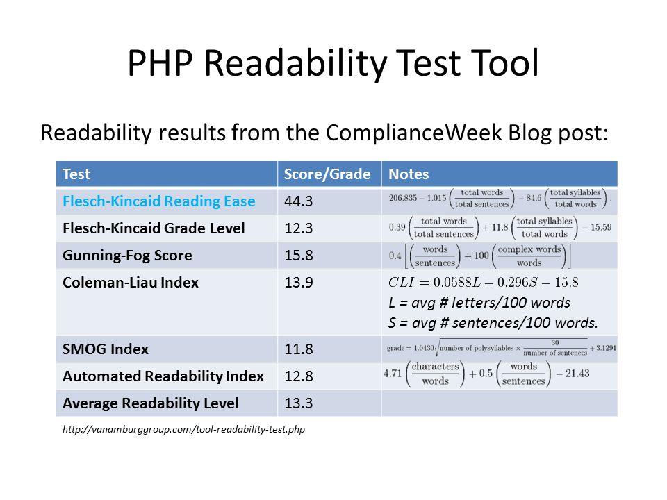 PHP Readability Test Tool TestScore/GradeNotes Flesch-Kincaid Reading Ease44.3 Flesch-Kincaid Grade Level12.3 Gunning-Fog Score15.8 Coleman-Liau Index