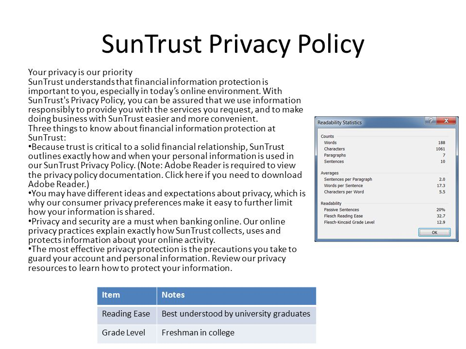 SunTrust Privacy Policy Your privacy is our priority SunTrust understands that financial information protection is important to you, especially in tod