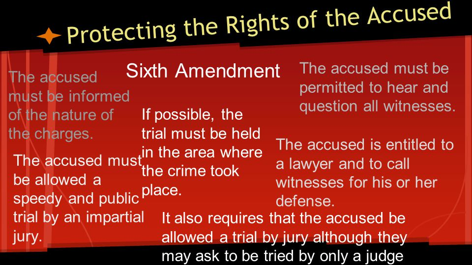 Protecting the Rights of the Accused Sixth Amendment The accused must be informed of the nature of the charges.