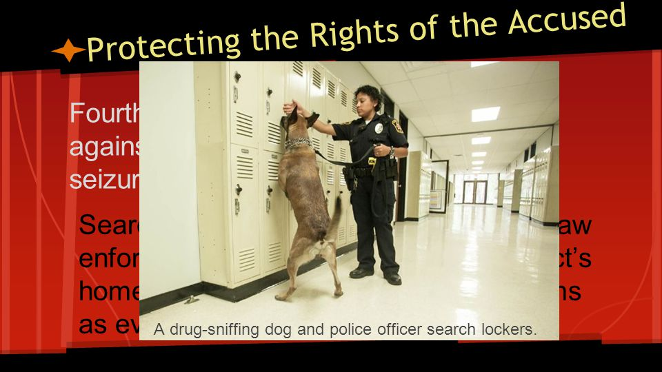 Protecting the Rights of the Accused Fourth Amendment-protects Americans against unreasonable searches and seizures.