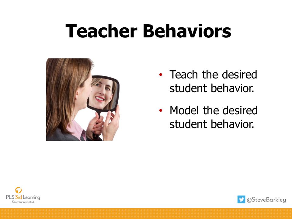 Teacher Behaviors Teach the desired student behavior. Model the desired student behavior.