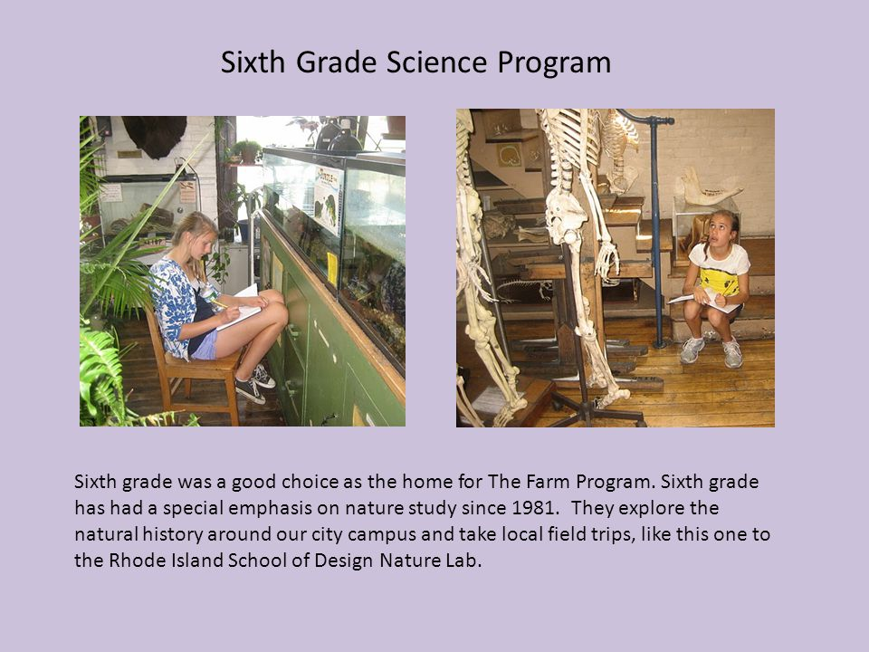 Sixth Grade Science Program Sixth grade was a good choice as the home for The Farm Program. Sixth grade has had a special emphasis on nature study sin