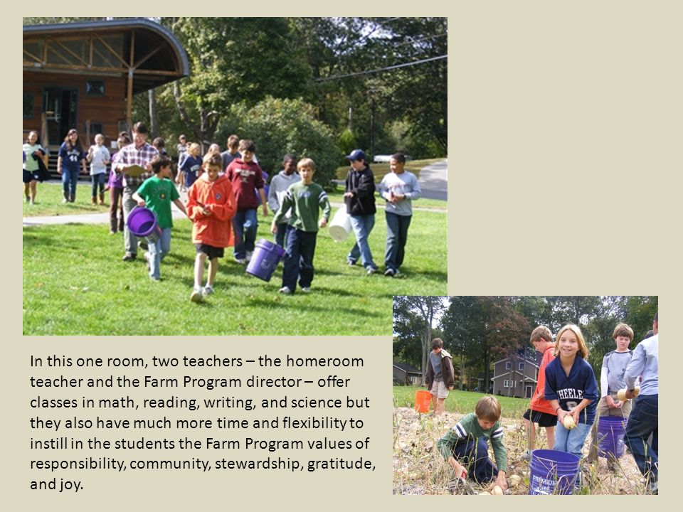 In this one room, two teachers – the homeroom teacher and the Farm Program director – offer classes in math, reading, writing, and science but they also have much more time and flexibility to instill in the students the Farm Program values of responsibility, community, stewardship, gratitude, and joy.