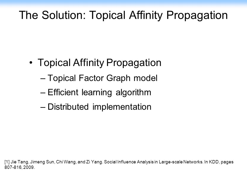 102 The Solution: Topical Affinity Propagation Topical Affinity Propagation –Topical Factor Graph model –Efficient learning algorithm –Distributed imp