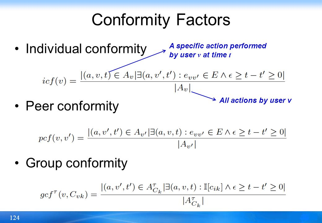124 Conformity Factors Individual conformity Peer conformity Group conformity All actions by user v A specific action performed by user v at time t