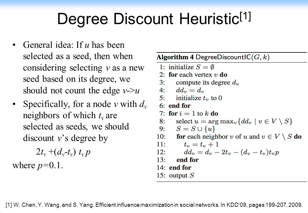 149 Degree Discount Heuristic [1] General idea: If u has been selected as a seed, then when considering selecting v as a new seed based on its degree,