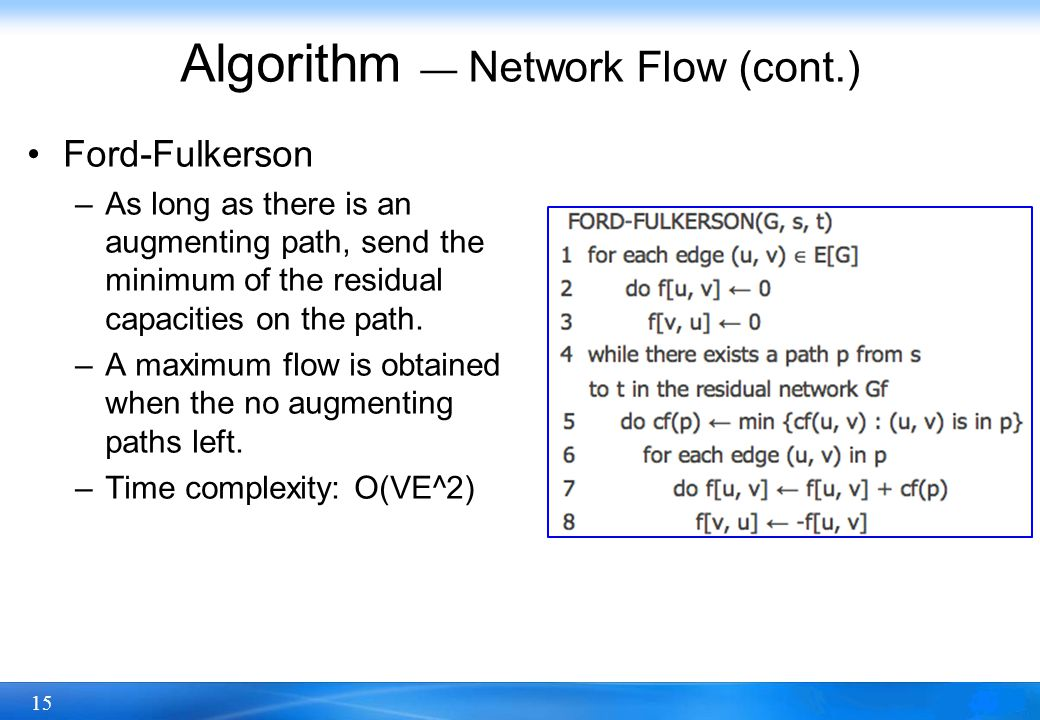 15 Algorithm — Network Flow (cont.) Ford-Fulkerson –As long as there is an augmenting path, send the minimum of the residual capacities on the path. –