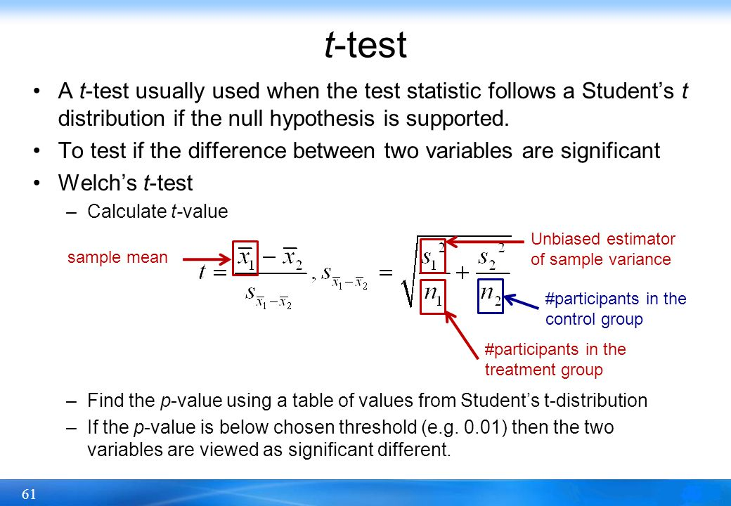 61 t-test A t-test usually used when the test statistic follows a Student's t distribution if the null hypothesis is supported. To test if the differe