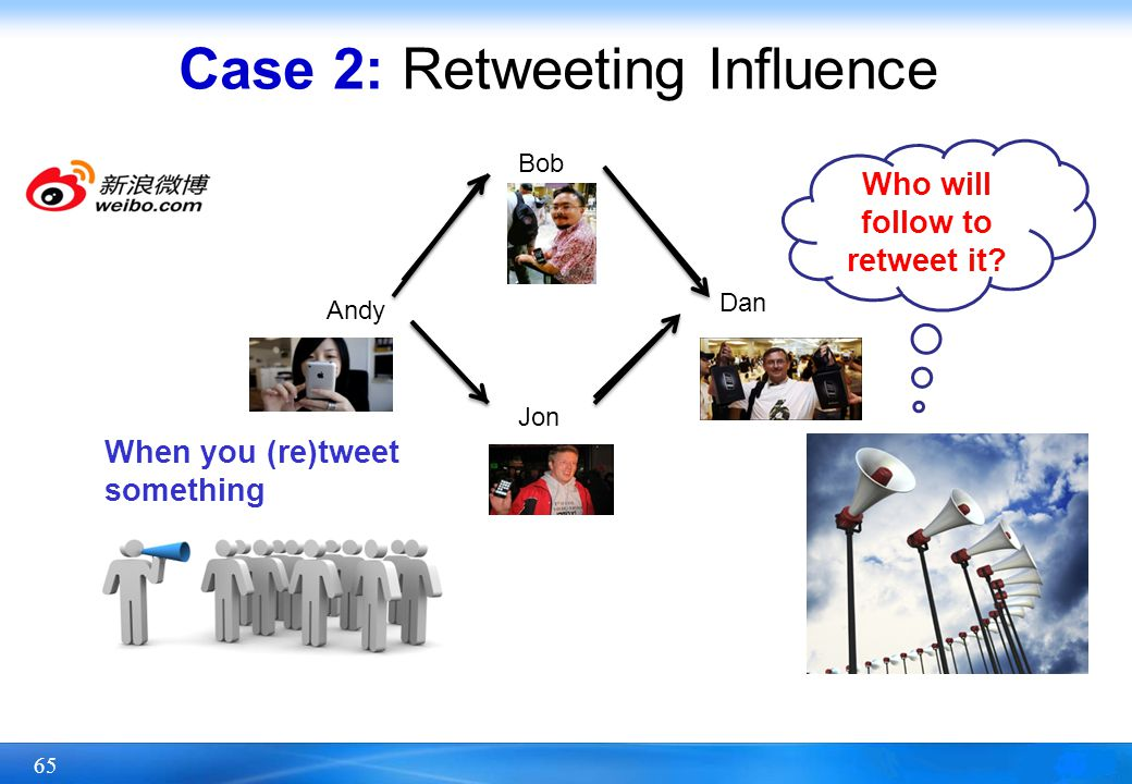65 Case 2: Retweeting Influence Andy Jon Bob Dan When you (re)tweet something Who will follow to retweet it?