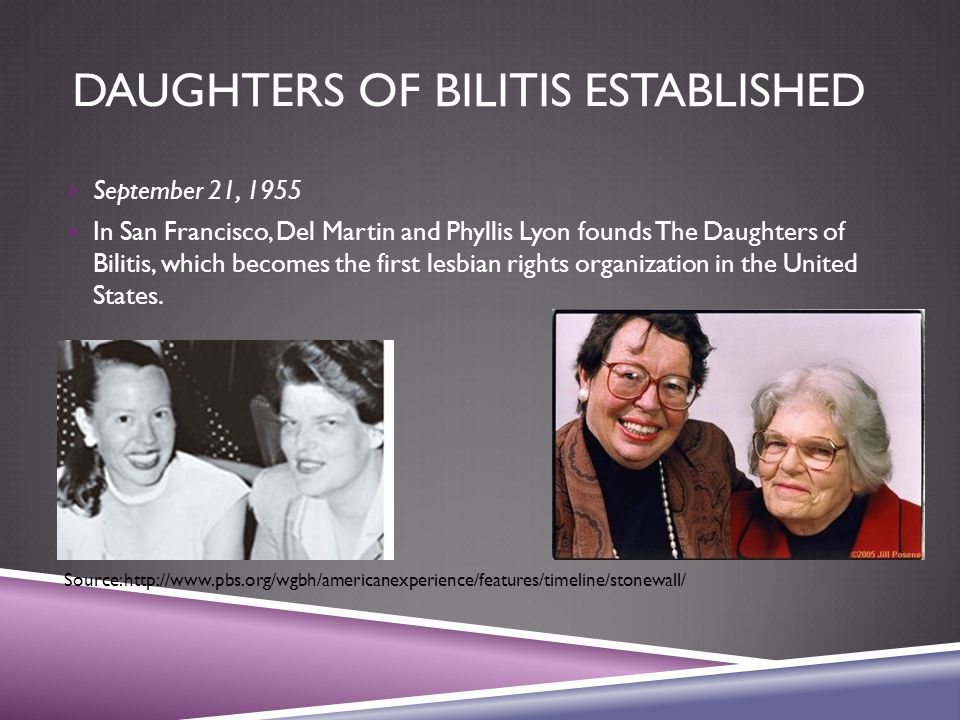 DAUGHTERS OF BILITIS ESTABLISHED  September 21, 1955  In San Francisco, Del Martin and Phyllis Lyon founds The Daughters of Bilitis, which becomes the first lesbian rights organization in the United States.