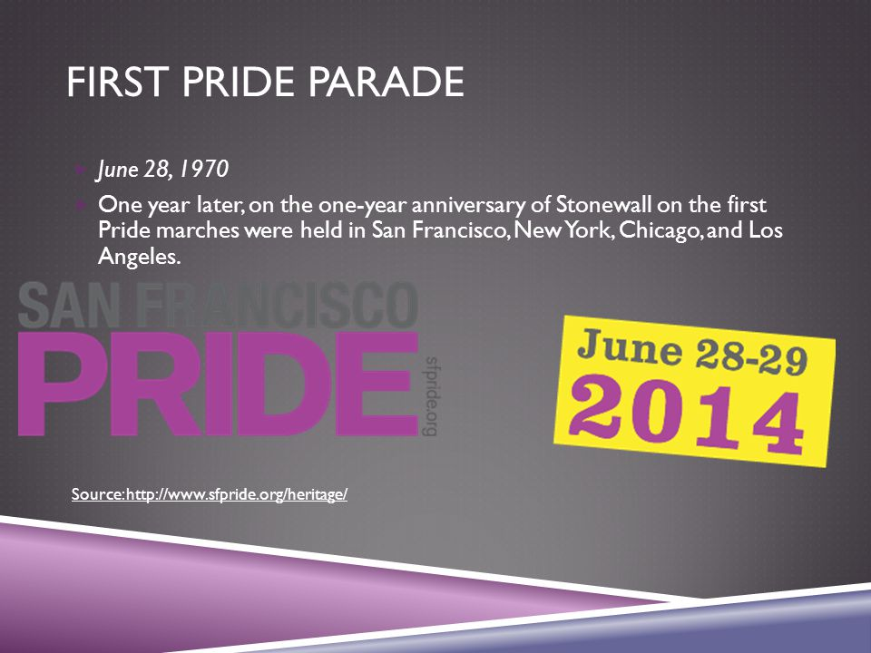 FIRST PRIDE PARADE  June 28, 1970  One year later, on the one-year anniversary of Stonewall on the first Pride marches were held in San Francisco, New York, Chicago, and Los Angeles.