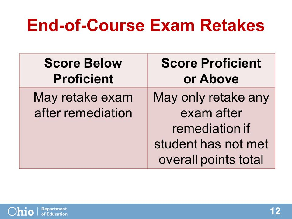 12 End-of-Course Exam Retakes Score Below Proficient Score Proficient or Above May retake exam after remediation May only retake any exam after remediation if student has not met overall points total