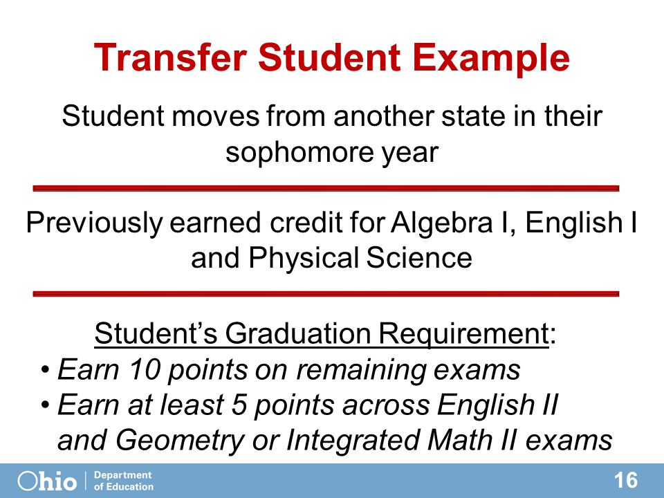 16 Transfer Student Example Student's Graduation Requirement: Earn 10 points on remaining exams Earn at least 5 points across English II and Geometry