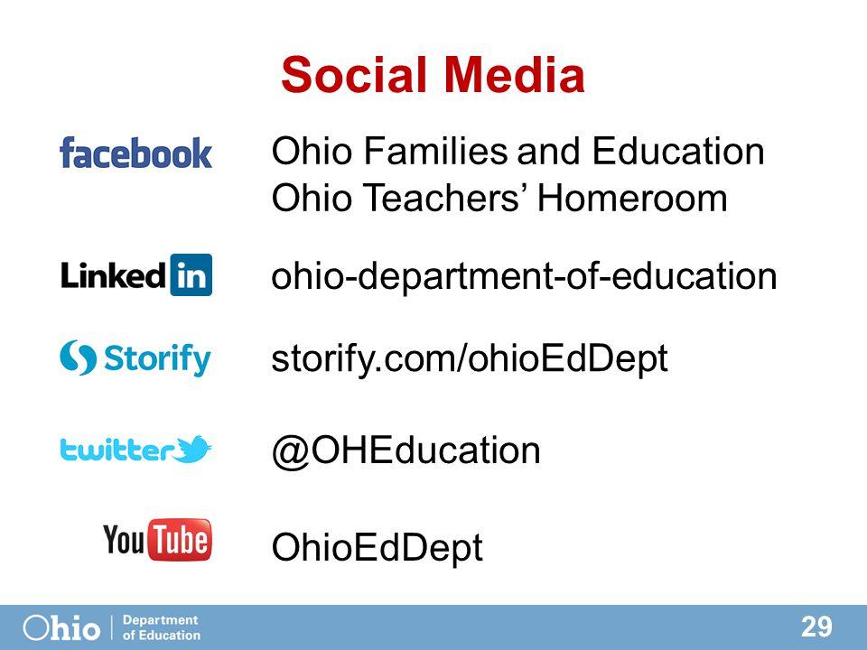 29 Social Media @OHEducation ohio-department-of-education Ohio Families and Education Ohio Teachers' Homeroom OhioEdDept storify.com/ohioEdDept