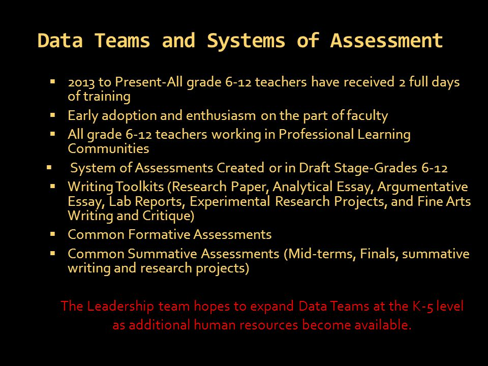 Data Teams and Systems of Assessment  2013 to Present-All grade 6-12 teachers have received 2 full days of training  Early adoption and enthusiasm on the part of faculty  All grade 6-12 teachers working in Professional Learning Communities  System of Assessments Created or in Draft Stage-Grades 6-12  Writing Toolkits (Research Paper, Analytical Essay, Argumentative Essay, Lab Reports, Experimental Research Projects, and Fine Arts Writing and Critique)  Common Formative Assessments  Common Summative Assessments (Mid-terms, Finals, summative writing and research projects) The Leadership team hopes to expand Data Teams at the K-5 level as additional human resources become available.