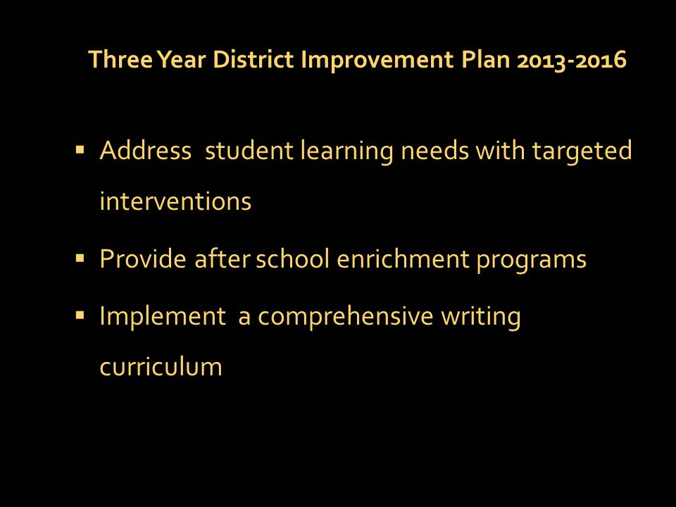 Three Year District Improvement Plan 2013-2016  Address student learning needs with targeted interventions  Provide after school enrichment programs  Implement a comprehensive writing curriculum