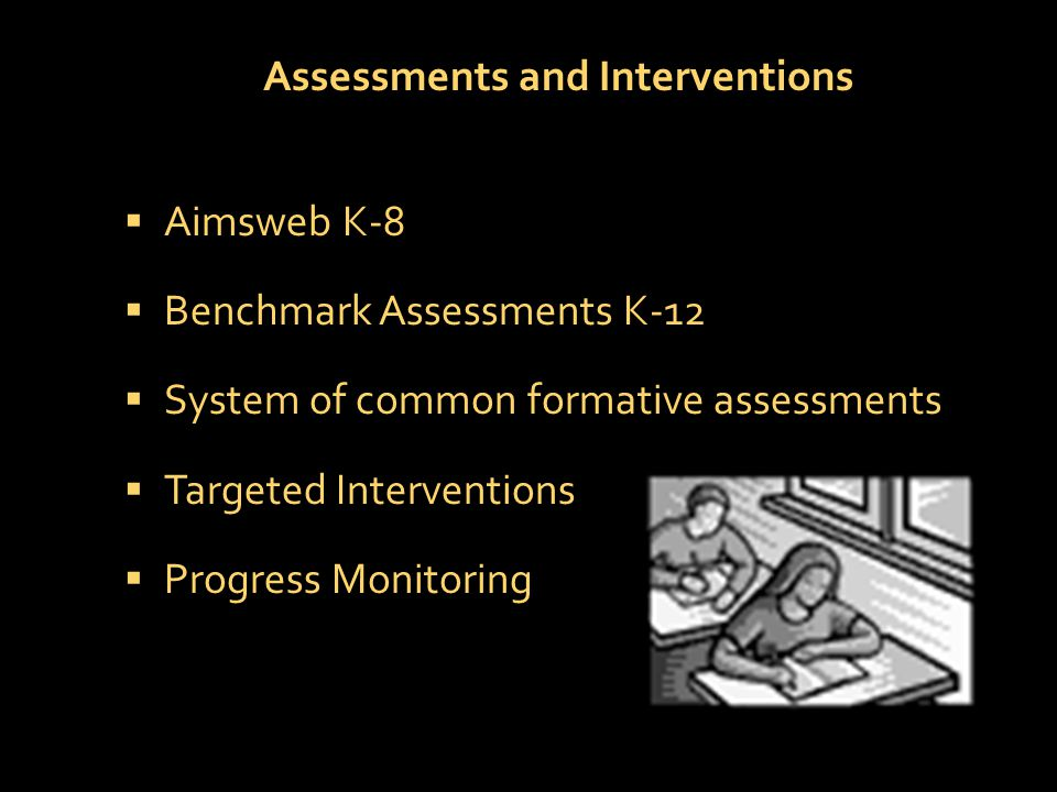 Assessments and Interventions  Aimsweb K-8  Benchmark Assessments K-12  System of common formative assessments  Targeted Interventions  Progress Monitoring
