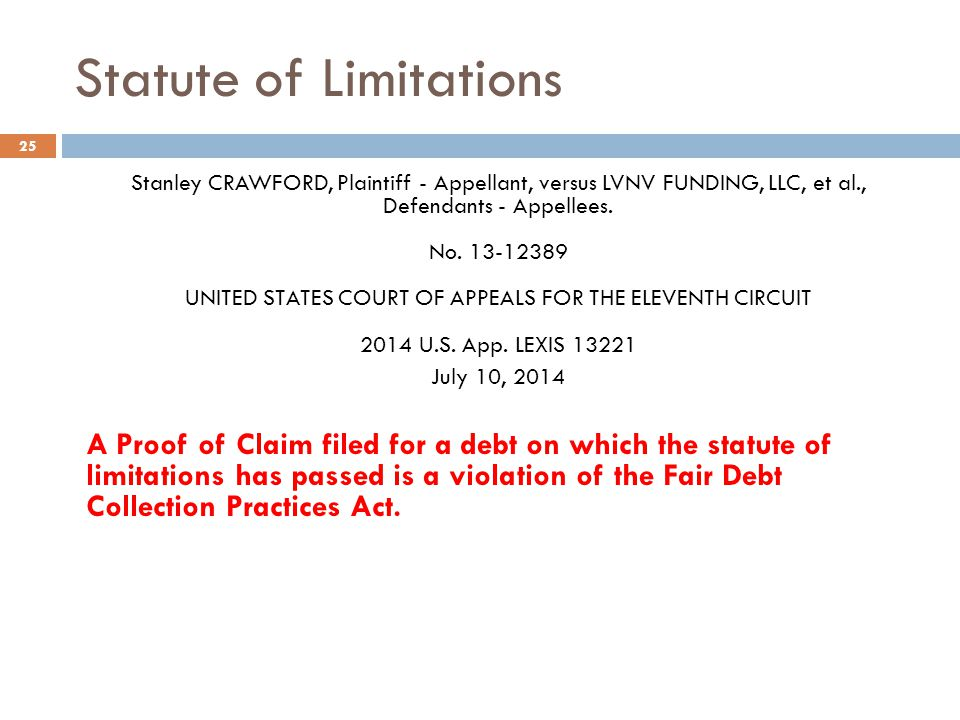 Statute of Limitations 25 Stanley CRAWFORD, Plaintiff - Appellant, versus LVNV FUNDING, LLC, et al., Defendants - Appellees. No. 13-12389 UNITED STATE