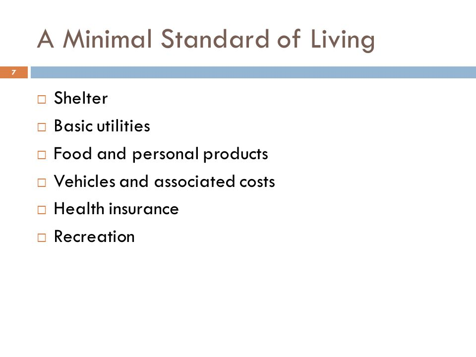 A Minimal Standard of Living  Shelter  Basic utilities  Food and personal products  Vehicles and associated costs  Health insurance  Recreation