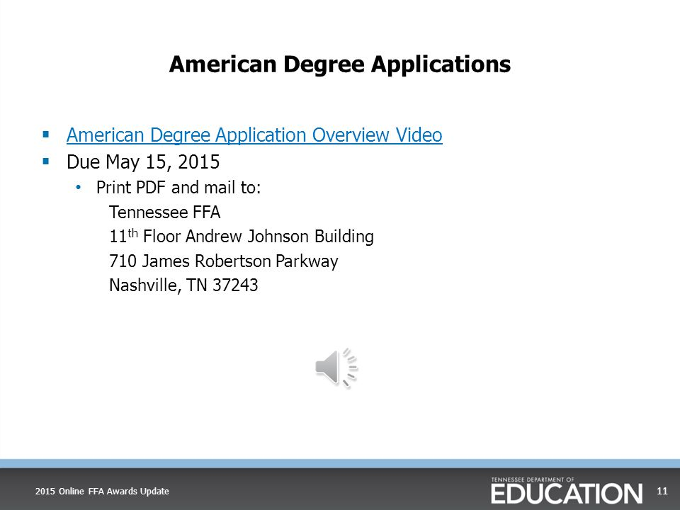 American Degree Applications  Each application has a version number The application version number on the footer submitted to the state will be the one judged  If a national star or degree application has not met, it will not be declared  All signatures on signature page must be complete  All American FFA Degree applicants are required to provide e-mail addresses.