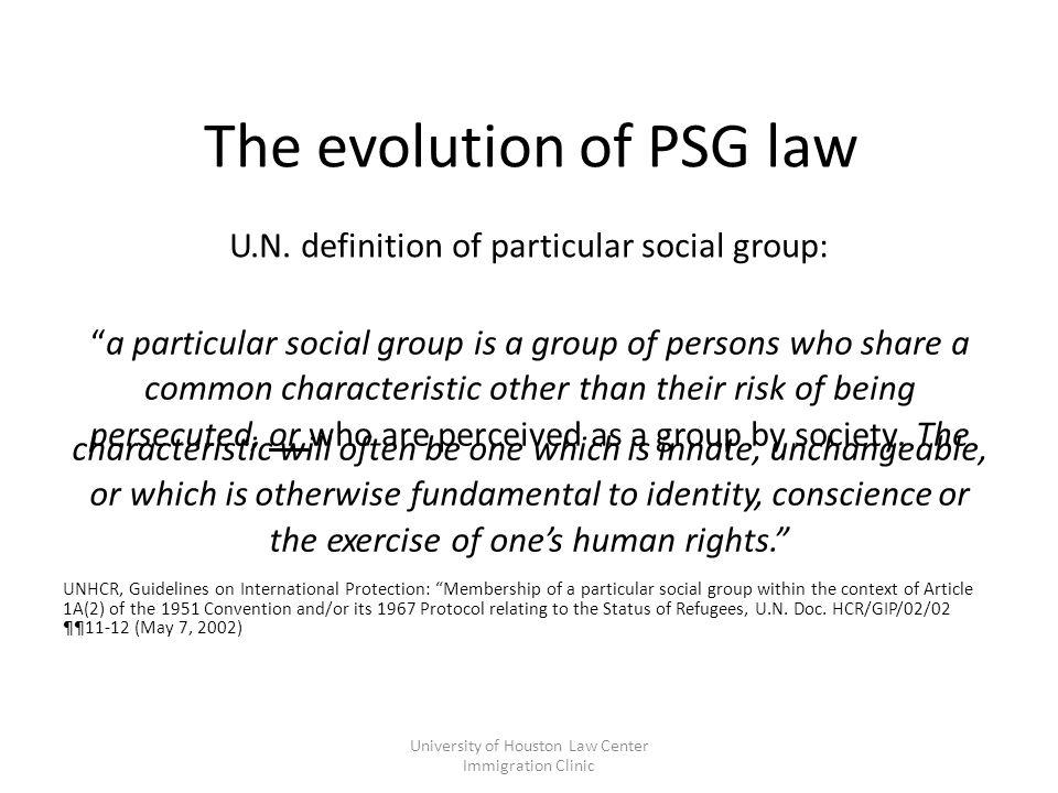 The evolution of PSG law U.N.