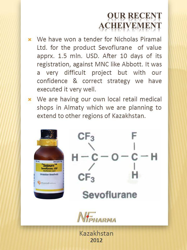 Kazakhstan 2012  We have won a tender for Nicholas Piramal Ltd. for the product Sevoflurane of value apprx. 1.5 mln. USD. After 10 days of its regist