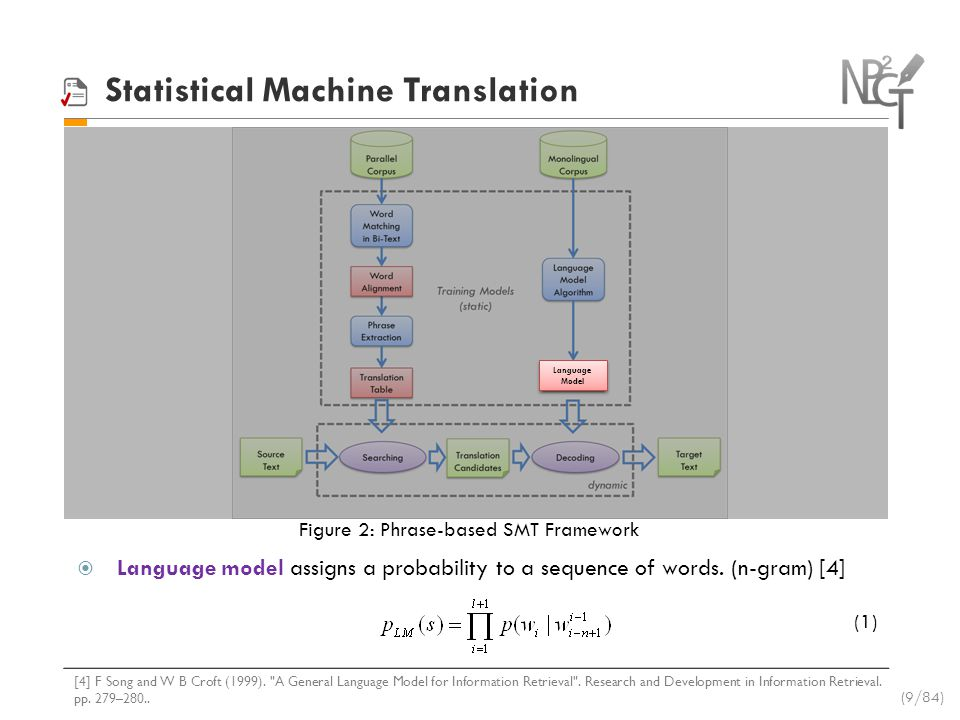 Statistical Machine Translation Decoding function consists of three components: the phrase translation table, which ensure the foreign phrase to match target ones; reordering model, which reorder the phrases appropriately; and language model, which ensure the output to be fluent.