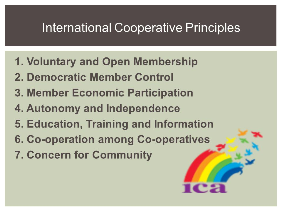 1. Voluntary and Open Membership 2. Democratic Member Control 3.
