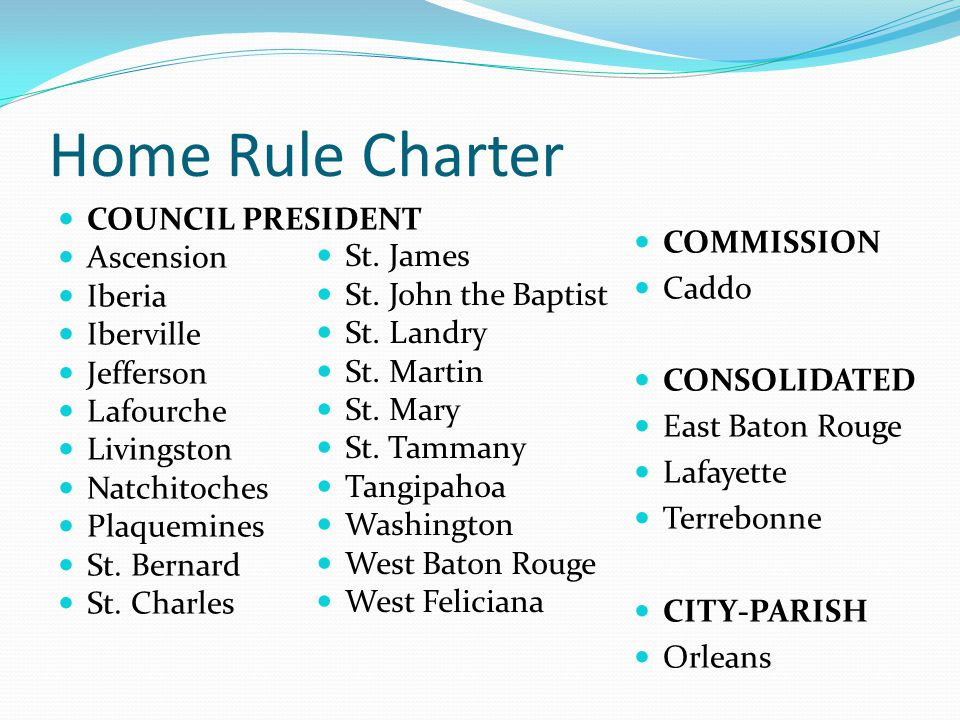 Home Rule Charter COUNCIL PRESIDENT Ascension Iberia Iberville Jefferson Lafourche Livingston Natchitoches Plaquemines St.
