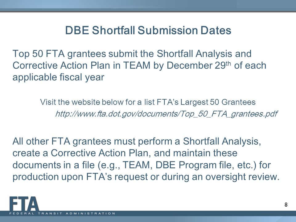 9 DBE Shortfall Submission Dates: What If… Your FY 2014-2016 is 10% Goal FY 2014: Achieved 15% DBE Participation = No Shortfall Submission Required FY 2015: Achieved 8.7% DBE Participation = Shortfall Submission Required and due on December 29, 2015 FY 2016: Achieved 5.9% DBE Participation = Shortfall Submission Required and due on December 29, 2016