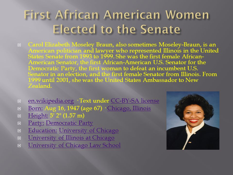  Carol Elizabeth Moseley Braun, also sometimes Moseley-Braun, is an American politician and lawyer who represented Illinois in the United States Sena