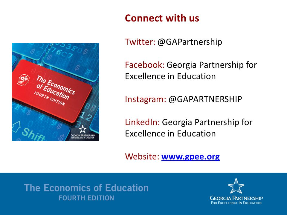 Connect with us Twitter: @GAPartnership Facebook: Georgia Partnership for Excellence in Education Instagram: @GAPARTNERSHIP LinkedIn: Georgia Partnership for Excellence in Education Website: www.gpee.orgwww.gpee.org