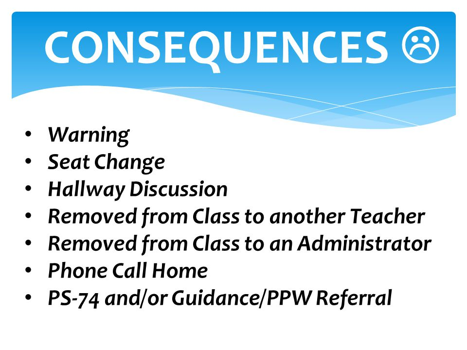 Warning Seat Change Hallway Discussion Removed from Class to another Teacher Removed from Class to an Administrator Phone Call Home PS-74 and/or Guida