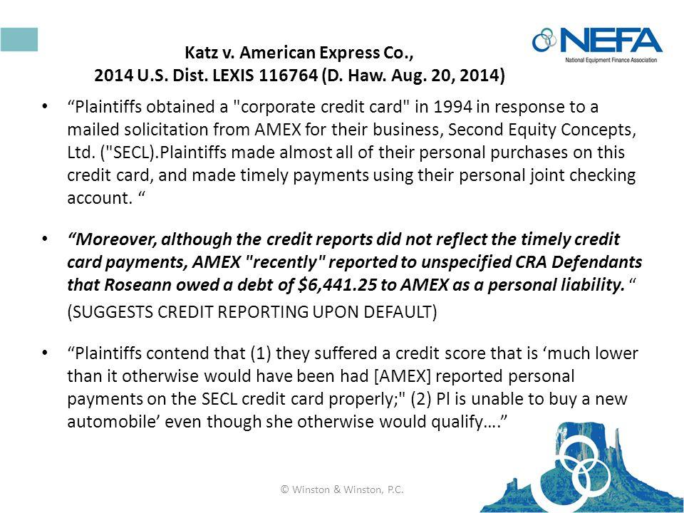 Katz v. American Express Co., 2014 U.S. Dist. LEXIS 116764 (D.