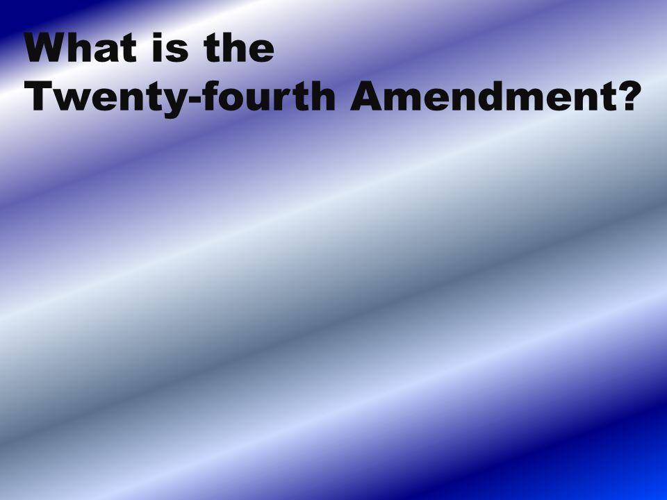 What is the Twenty-fourth Amendment