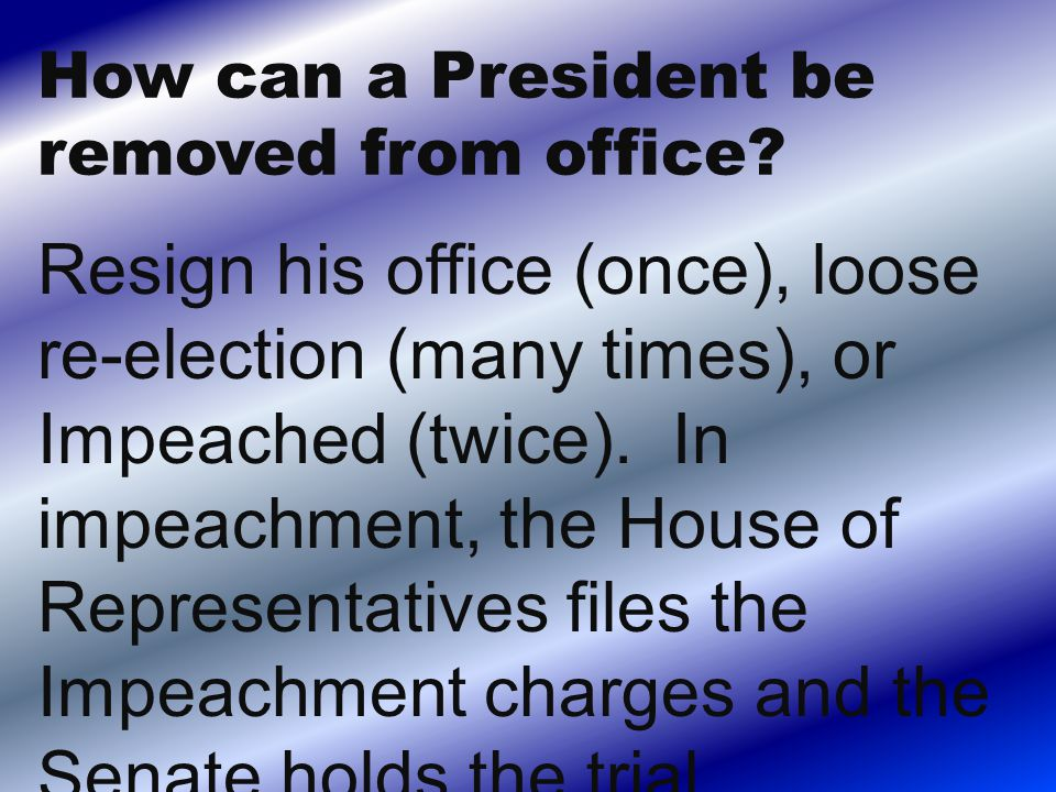 Resign his office (once), loose re-election (many times), or Impeached (twice).
