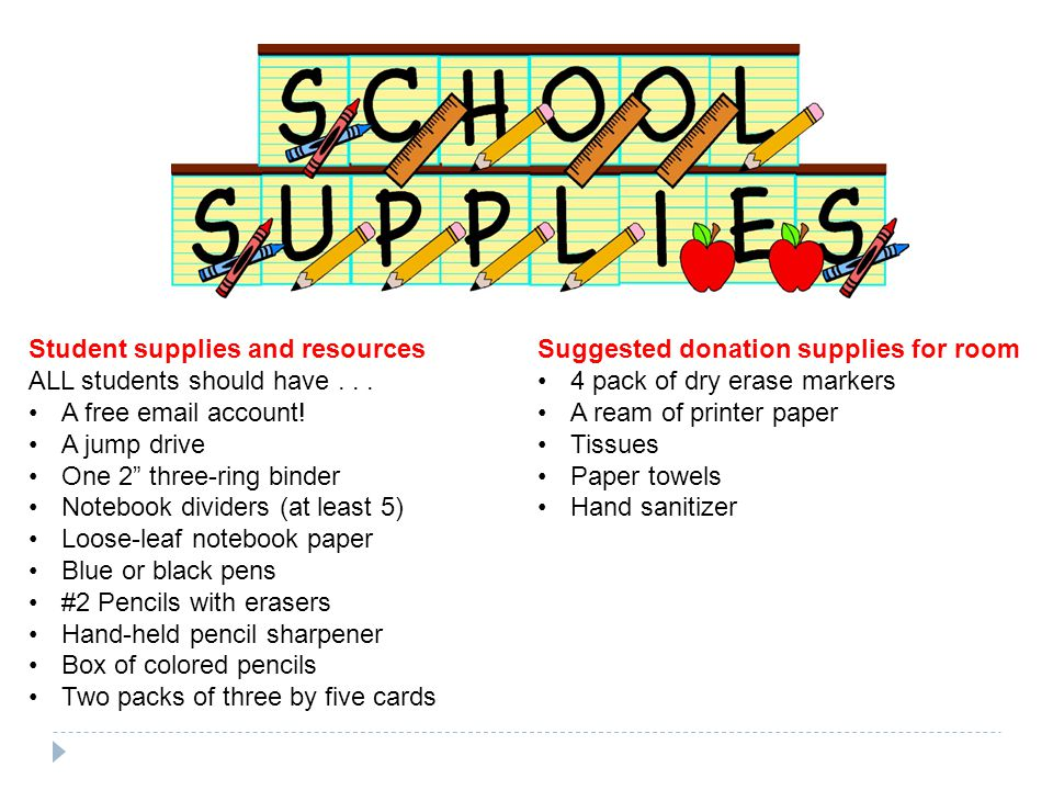 Student supplies and resources ALL students should have...