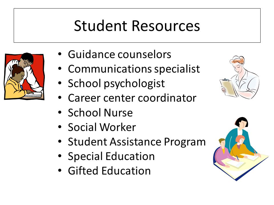 Student Resources Guidance counselors Communications specialist School psychologist Career center coordinator School Nurse Social Worker Student Assistance Program Special Education Gifted Education